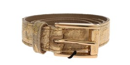Dolce & Gabbana Gold Beige Brocade Cotton Leather Waist Belt 25439 - $146.74