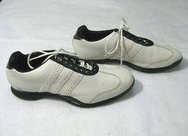ADIDAS Mens White & Black Leather Golf Shoes (Size 9) Rubber Spikes Traxion - $18.95