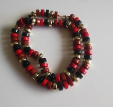 "Vintage Multi Color Plastic Disc/Button Bead Necklace 15"" - $19.79"