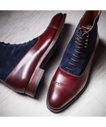 MEN TWO TONE LACE UP BOOTS FOR MEN, MEN MAROON AND BLUE - $153.99+