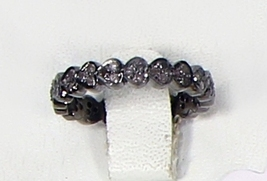 HeartDesign Eternity BandRing .925SterlingSilver Dark Oxidized with Pave... - $125.00