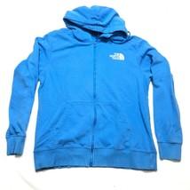 The North Face Hoodie Jacket Mens L Blue Full Zip Pockets Long Sleeve Logo - $22.43