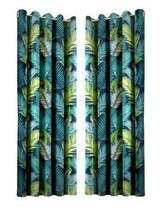 TROPICAL PALM LEAF LEAVES TEAL GREEN FULLY LINED ANNEAU TOP CURTAINS 7 S... - $33.52+