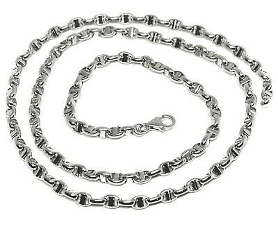 """18K WHITE GOLD CHAIN SAILOR'S NAUTICAL NAVY MARINER BIG OVAL 4mm LINK, 24"""" 60cm"""