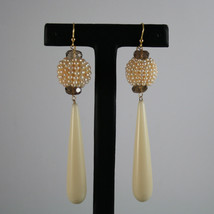 SOLID 18K YELLOW GOLD EARRINGS, WITH SMOKY QUARTZ, PEARLS AND BIG DROPS image 1