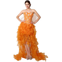 Women's Organza High Low Beaded Evening Dress Sexy 2018 Prom Party Gown Sweet 16 - $88.99