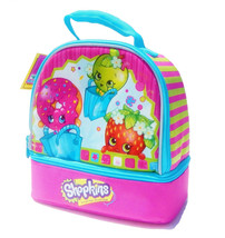 SHOPKINS Apple & Strawberry Kiss PVC & Lead-Free Insulated Dual Lunch To... - $14.84
