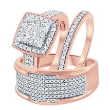 Men's & Women's 14k Rose Gold Fn 3/8 Ct Round Cut Diamond Trio Wedding Ring Set - $170.09
