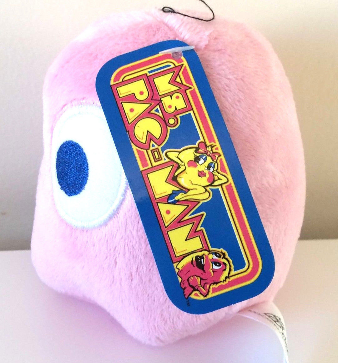 Stuffed Toy Brand New Pink Ghost PINKY USA Pac-Man Plush 5 /'/' Licensed