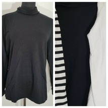 3 Pack Lands End Turtleneck Blouse Top Womens PL Striped Black Lot Long ... - $27.08