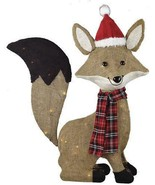 Lighted Rustic Woodland Fox Sculpture Pre Lit Outdoor Christmas Decor Ya... - $98.50