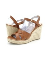 Banana Republic Women 10 Brown Leather Wedge Espadrille Strappy Slingbac... - $39.99