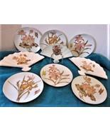 "Vintage Porcelain Japan Fan Floral w/2 sets of 6.5"" Plates w/ Fan Plate ... - $18.95"