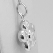 18K WHITE GOLD ROUNDED FLOWER DAISY PENDANT CHARM 22 MM SMOOTH MADE IN ITALY image 2