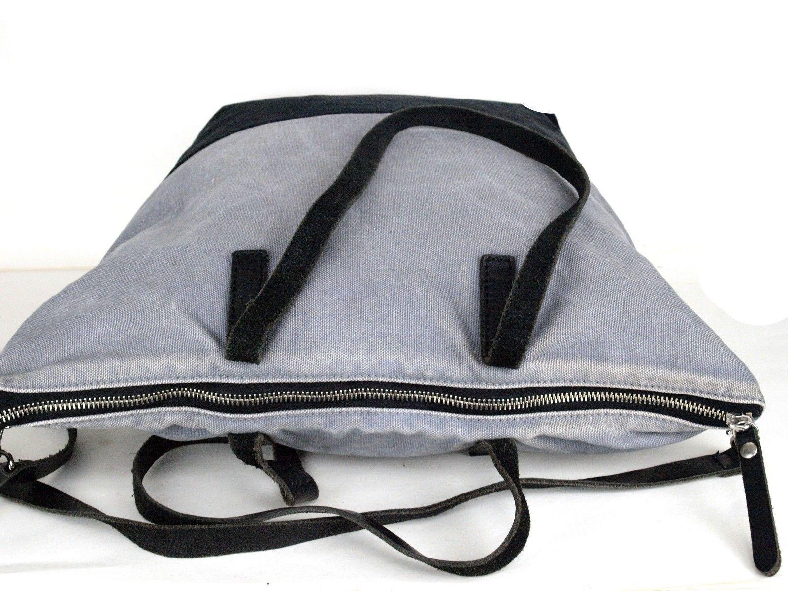 849a67fbd08b Auth BURBERRY BLACK LABEL Cotton Canvas   Black Leather 2 Way Shoulder Hand  Bag