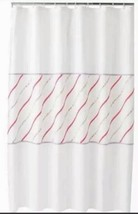 Croft & Barrow Cora Ruffle Fabric Shower Curtain White Floral Coral Pink - $17.99