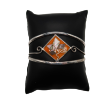 Vtg Alpaca Mexico silver tone cuff bracelet orange enamel & mother of pearl - $19.99