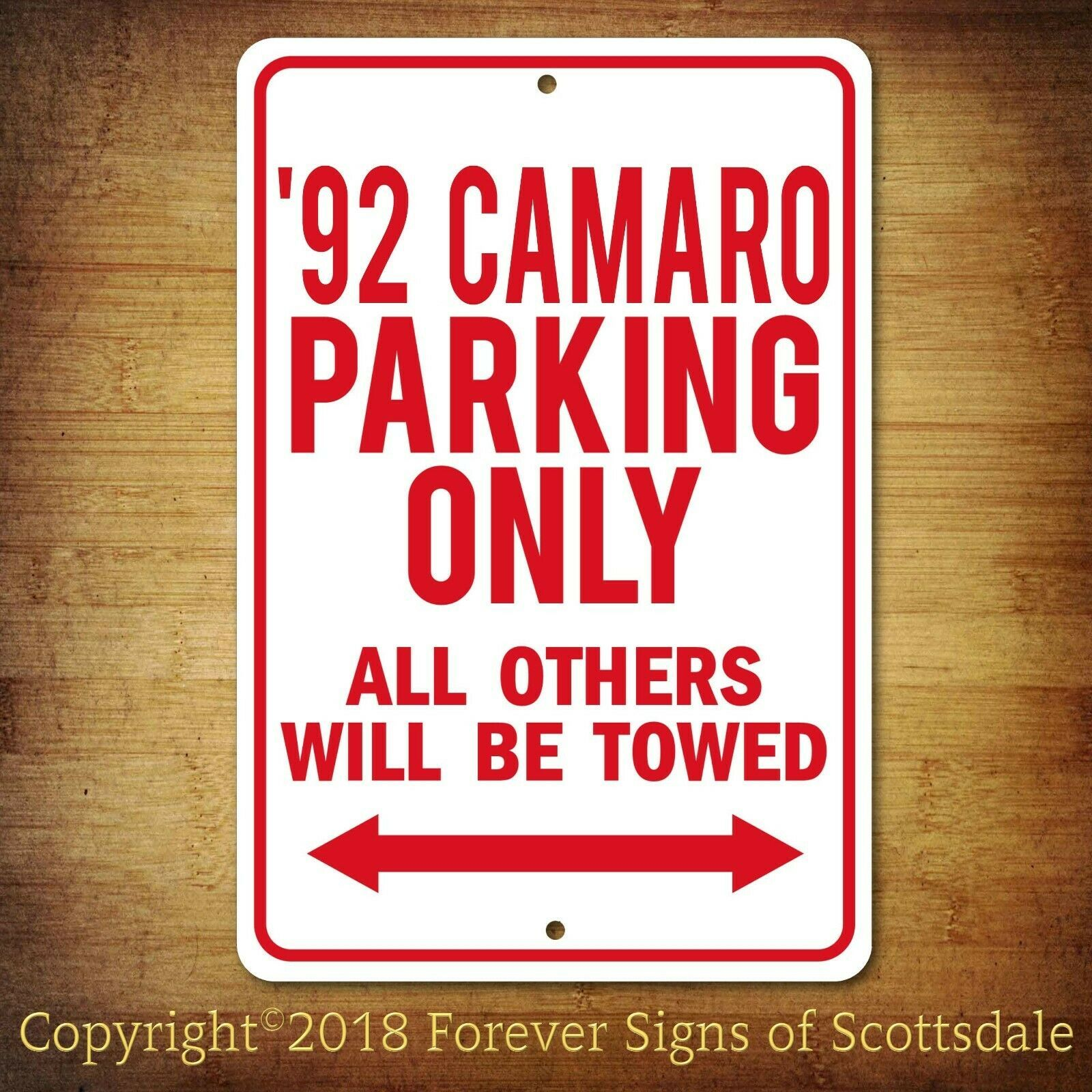 Primary image for 1992 Chevrolet Camaro Parking Only Security Aluminum Sign