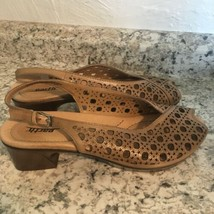 EARTH Barranca tan Leather peep Toe Women's Slingback Sandals Shoes Size 9 - $49.45