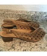 EARTH Barranca tan Leather peep Toe Women's Slingback Sandals Shoes Size 9 - $49.45