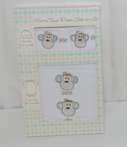 Grasslands Road 2 Piece Set Monkey Faces See Do Hat Bodysuit White 3 to 6 Months