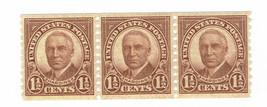 1930 Warren G Harding Coil Strip of 3 US Postage Stamps Catalog Number 686 MNH