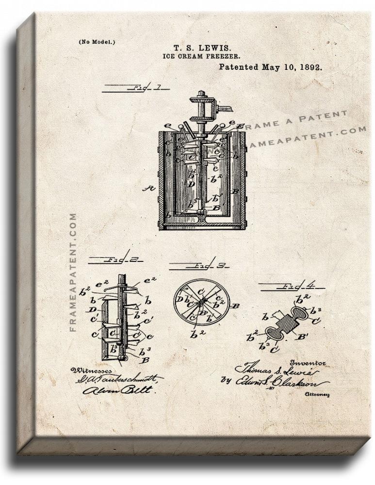 Primary image for Ice Cream Freezer Patent Print Old Look on Canvas