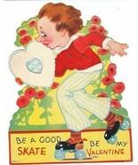 Vintage Valentine Card Roller Skating Boy Mechanical - $9.89