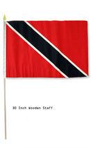 "12x18 12""x18"" Trinidad Tobago Country Stick Flag 30"" wood staff - $18.00"
