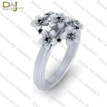 Cluster Flower Ring Black Diamond Floral Art Nouveau Engagement Ring For... - £66.50 GBP+