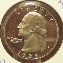 1986-S DCAM Proof Washington Quarter PR65 #877 - $3.19
