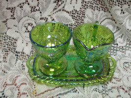 Lime Green Iridescent Carnival Glass Harvest Grape Creamer & Sugar w/ Tray - $37.74