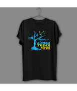 Autism Awareness Black T-Shirt Tree Autism Navy Tee Mom Support Think Ou... - $17.99