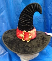 SALEM WITCH VELVET HAT WITH RED BAND & GOLD BUCKLE - $15.00