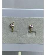 Vintage Gold Tone & Clear Rhinestone Clip On Earrings ( 2135 ) - $6.00