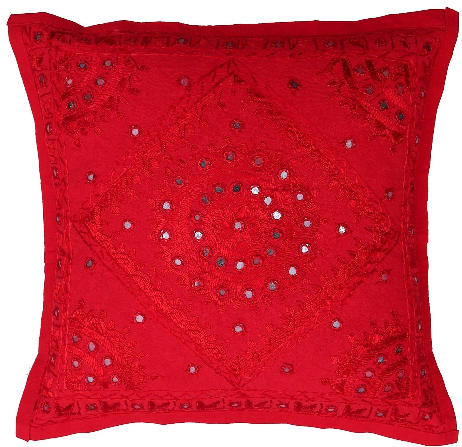 "Primary image for 16""/24"" Red Mirror Embroidered Pillow Cushion Cover Sofa Throw Christmas Decor"
