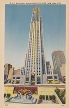 New York City NY RCA Building Rockefeller Center Postcard Linen Colourpicture - $3.34