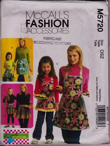 Fashion Accessory, Moms Children Girls, Apron 3 Styles McCalls M5720 Sew pattern