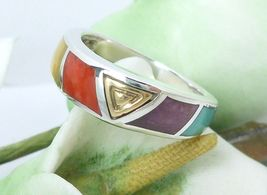 Eric Grossbardt Sterling/18K Rainbow Ring Size 5.75 - $89.00