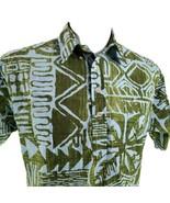 Hilo Hattie Tribale Verde Blu Medio Hawaiano Camp Camicia - $31.26