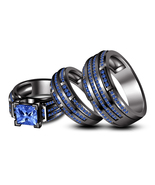Gents Ladies Trio Ring Set Black Gold Over 925 Silver Princess Cut Blue Sapphire - $165.99