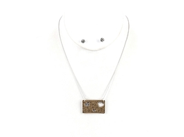 Goldtone Greatest Is Love Cutout Hearts Two Tone Necklace & Earring Set - $14.95
