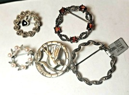 5 Vintage Sterling Silver CIRCLE Brooch PINS Marcasites Garnet Onyx Pear... - $71.25