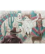 Rare Original Signed R. Atkins Southwestern Pueblo Indian Textured Art P... - $1,199.49