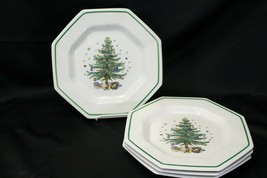 "Nikko Christmastime Salad Plates 8.25"" Lot of 5 Christmas  - $48.99"