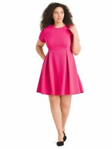 Hutch Womens Dress 2X Fuchsia Pink Textured Fit And Flare Stretch A8-04P - $14.42