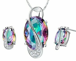 Jewelry Necklace And Earrings Set 18k White Gold Plated Colorful Gemstone w/Box - $14.75