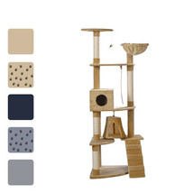 "75"" Cat Tree Scratching Post Furniture 2 Condos Gray/Beige/Blue w/o Paw ... - £45.61 GBP+"