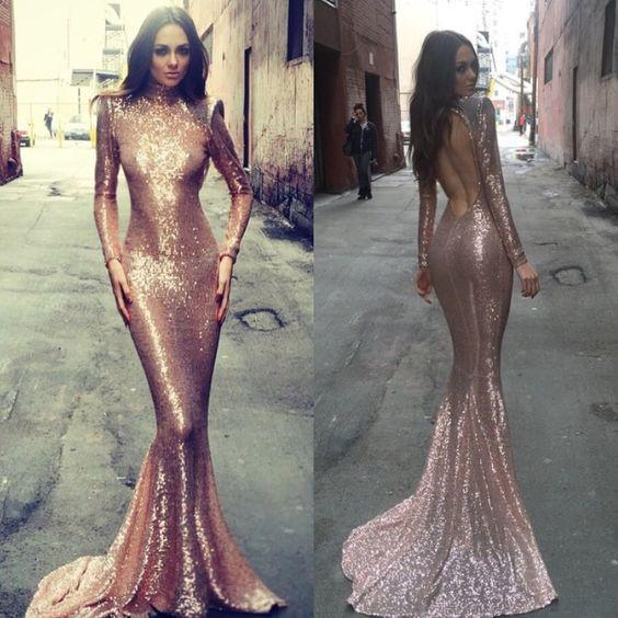 Charming prom Dress,sequin Prom Dresses,Long prom Dress,long sleeves prom dress
