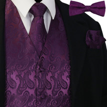 Deep Purple Paisley Tuxedo Suit Dress Vest Waistcoat Necktie Bowtie Hank... - $26.71+